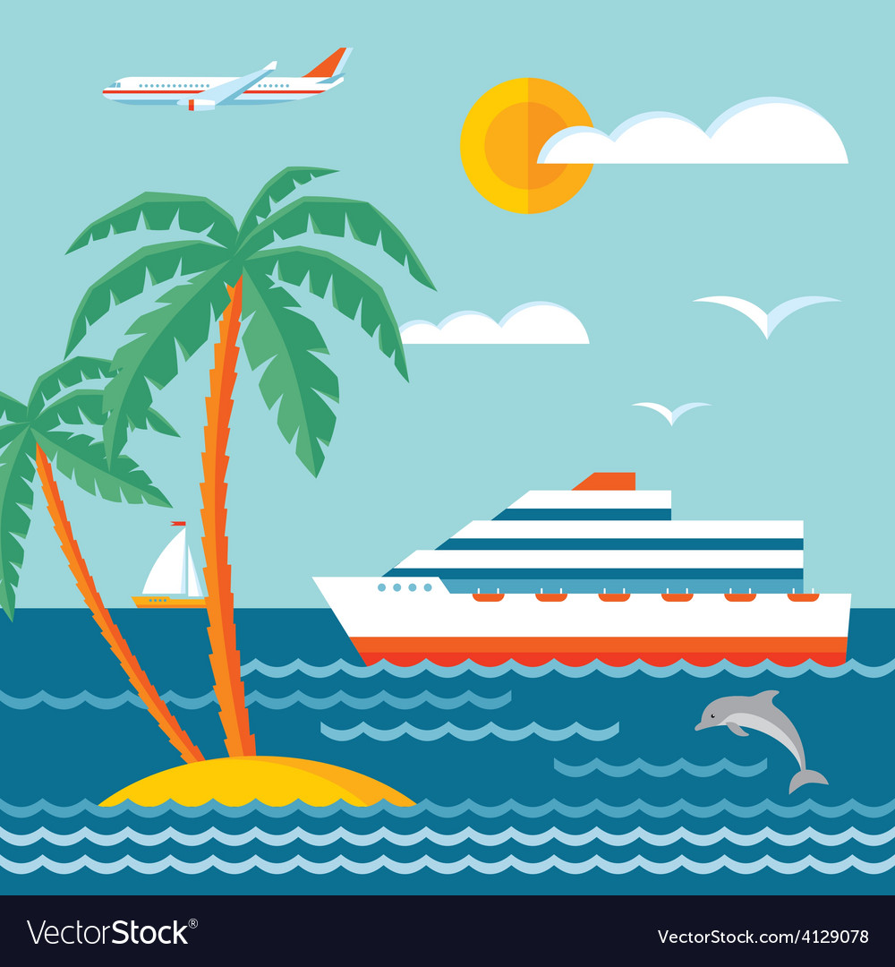 Travel cruise - flat style vector | Price: 1 Credit (USD $1)