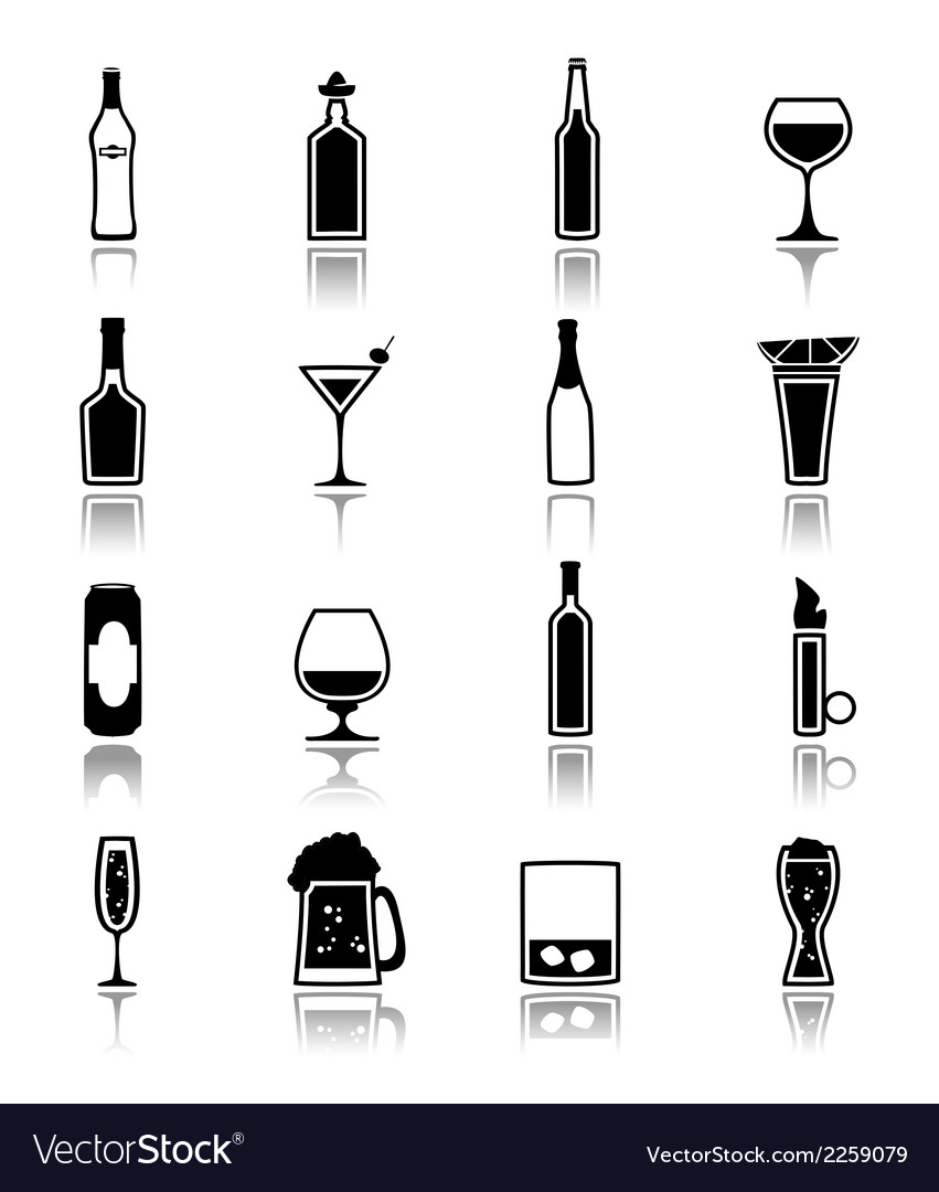 Alcohol icons black vector | Price: 1 Credit (USD $1)