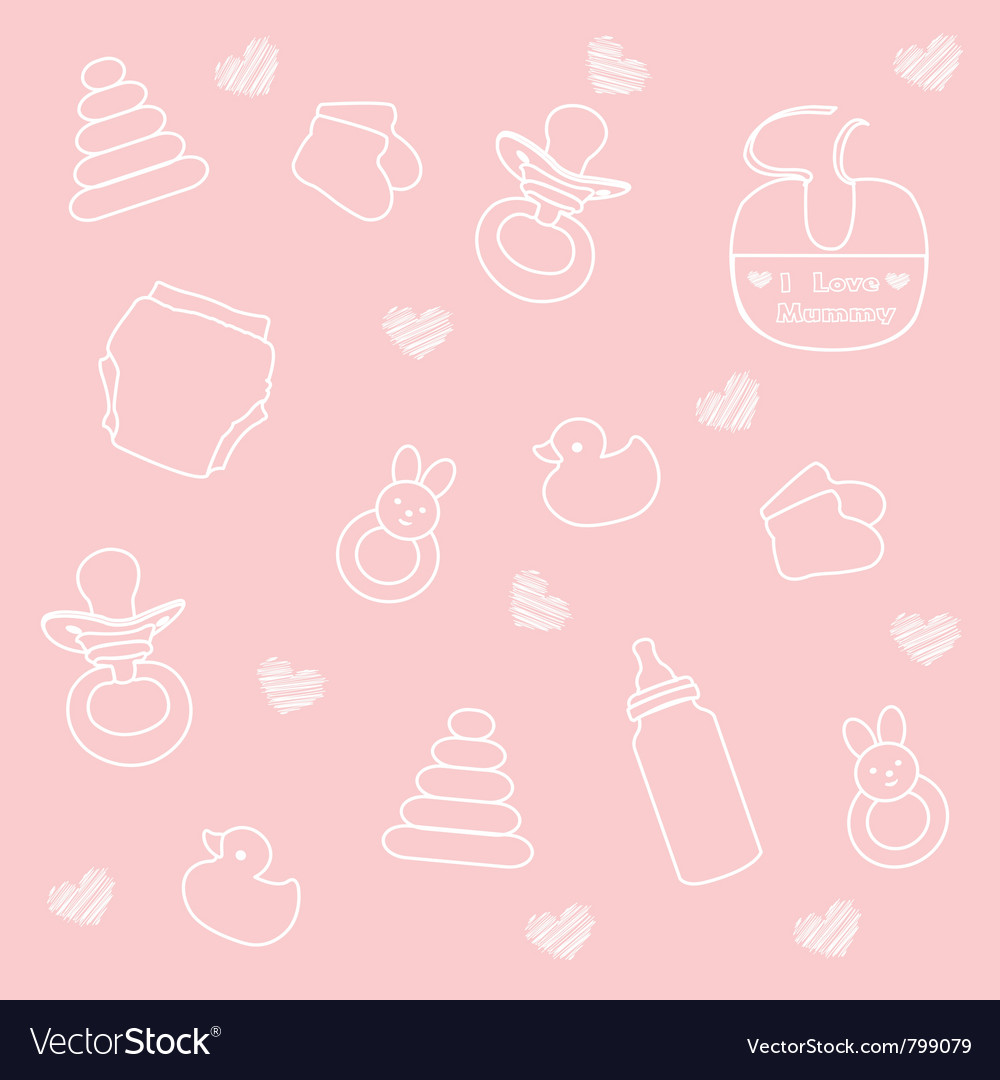 Baby girl elements pink background vector | Price: 1 Credit (USD $1)