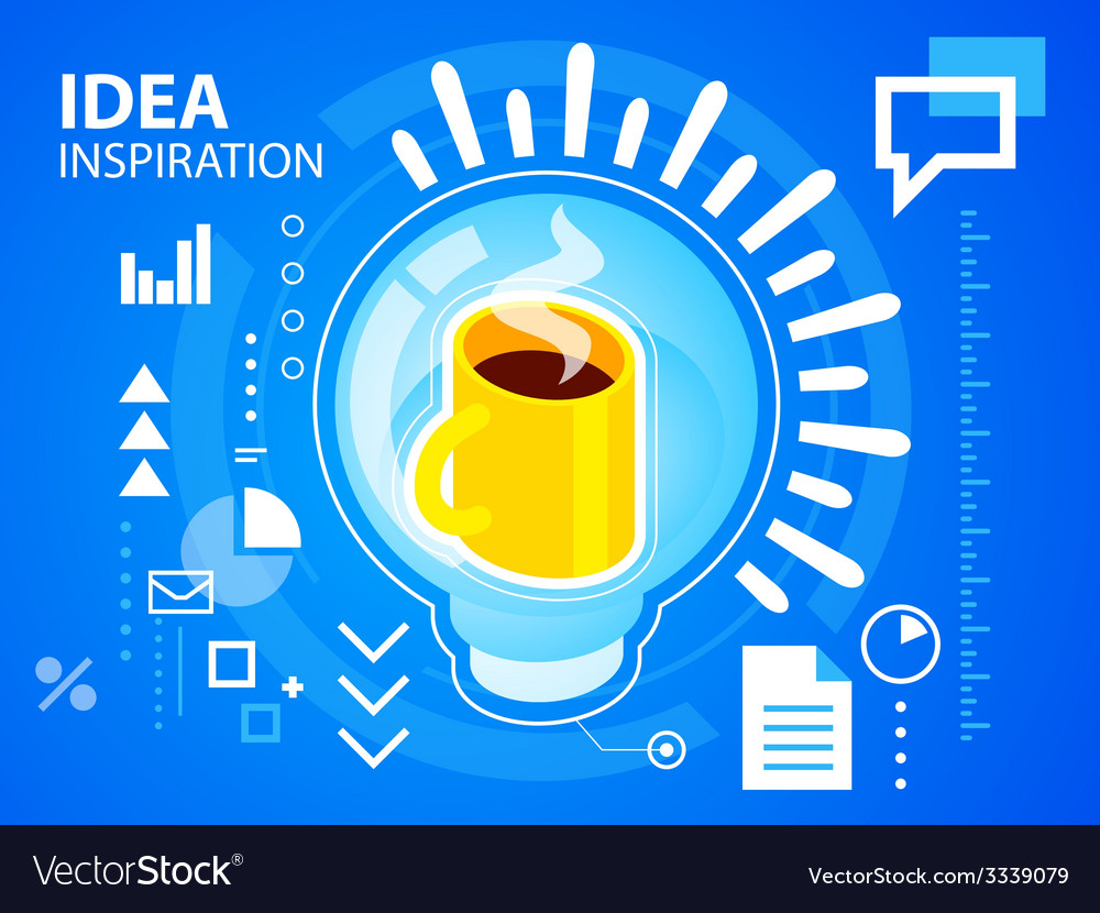 Bright light bulb and coffee on blue backgro vector | Price: 3 Credit (USD $3)