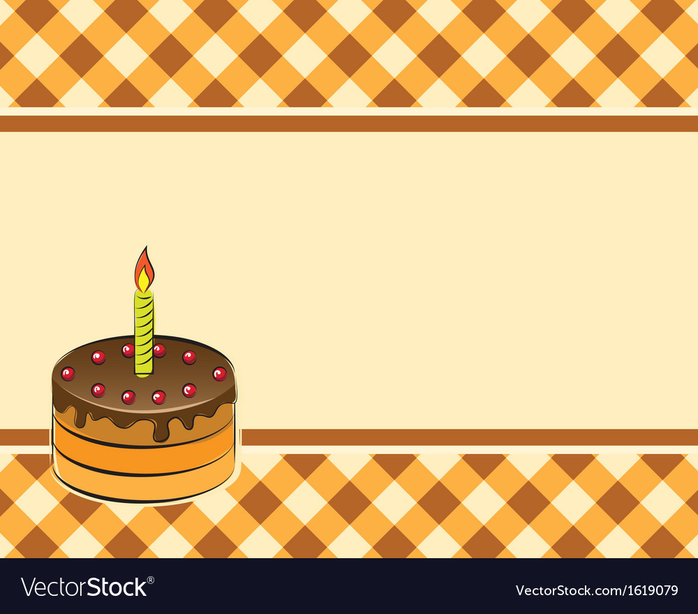 Cake with a candle on a plaid background vector | Price: 1 Credit (USD $1)