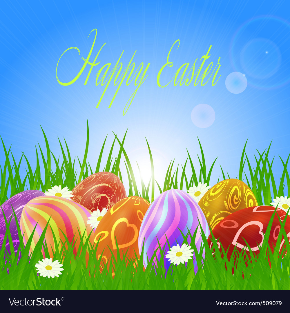 Easter eggs on green grass vector | Price: 1 Credit (USD $1)
