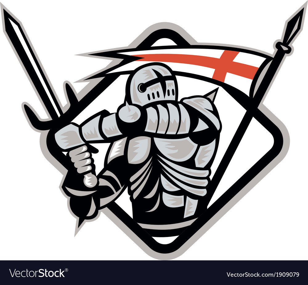 English knight fighting sword england flag retro vector | Price: 1 Credit (USD $1)