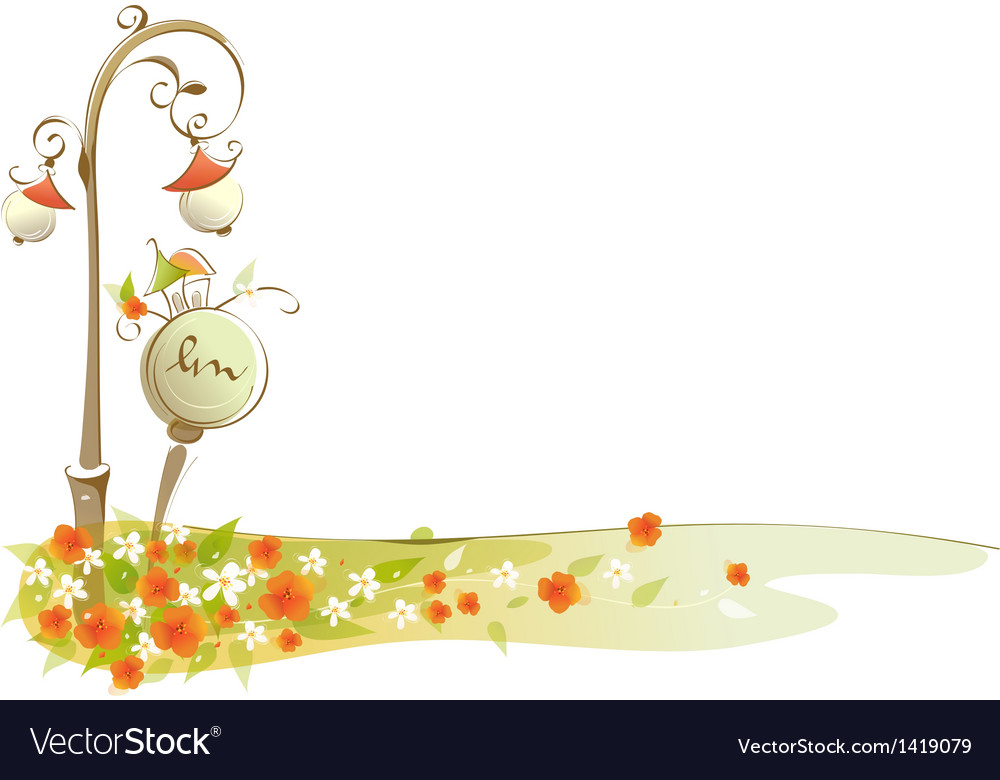 Flowers near street light vector | Price: 1 Credit (USD $1)