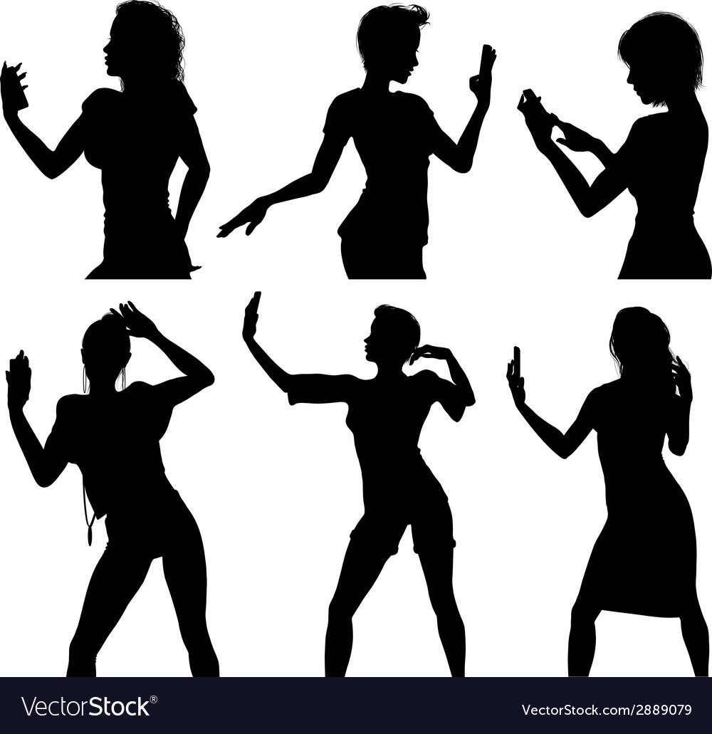 Girl silhouettes taking selfie with smart phone vector