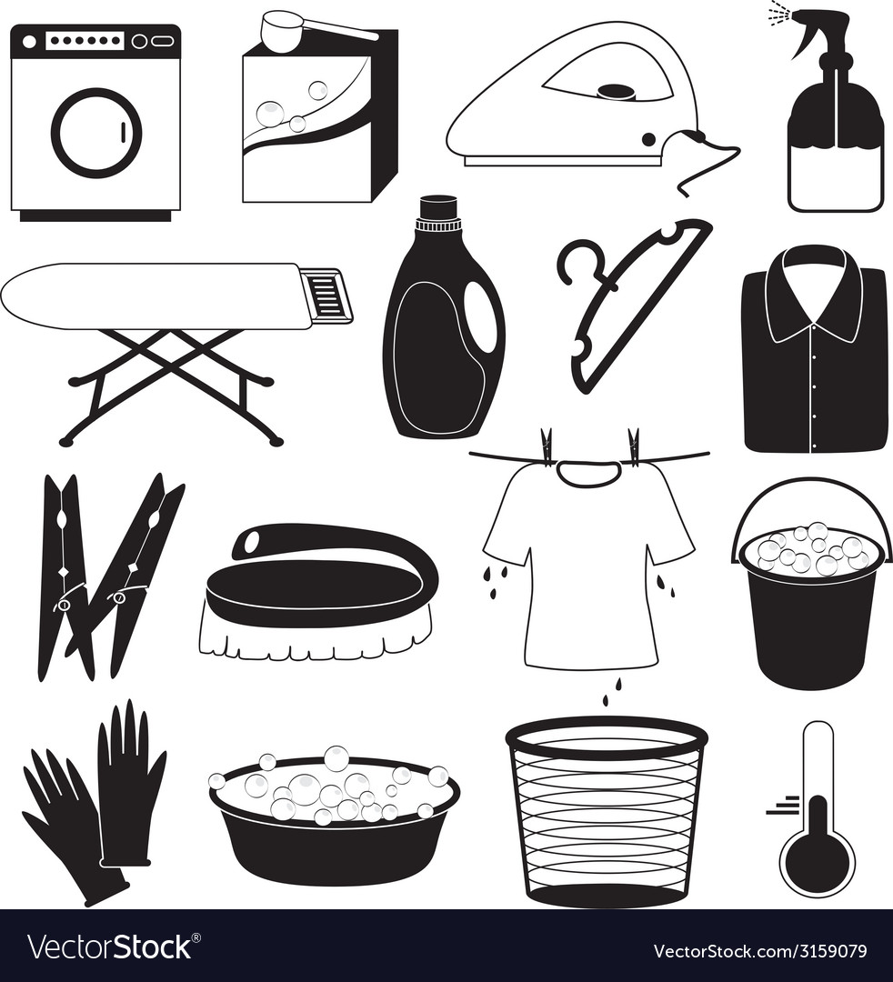 Laundry and cleaning icons vector | Price: 1 Credit (USD $1)