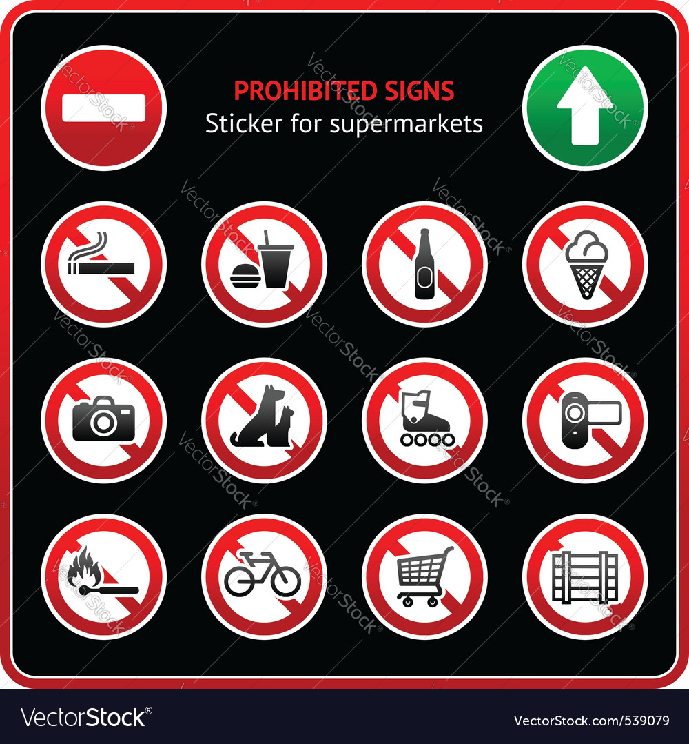 Prohibited signs sticky label for supermarkets vector | Price: 1 Credit (USD $1)