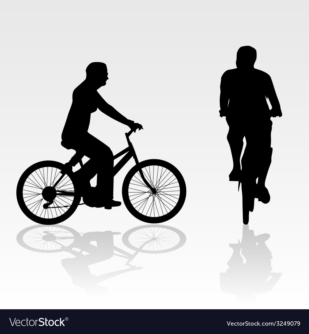 Recreation on bike silhouette vector | Price: 1 Credit (USD $1)