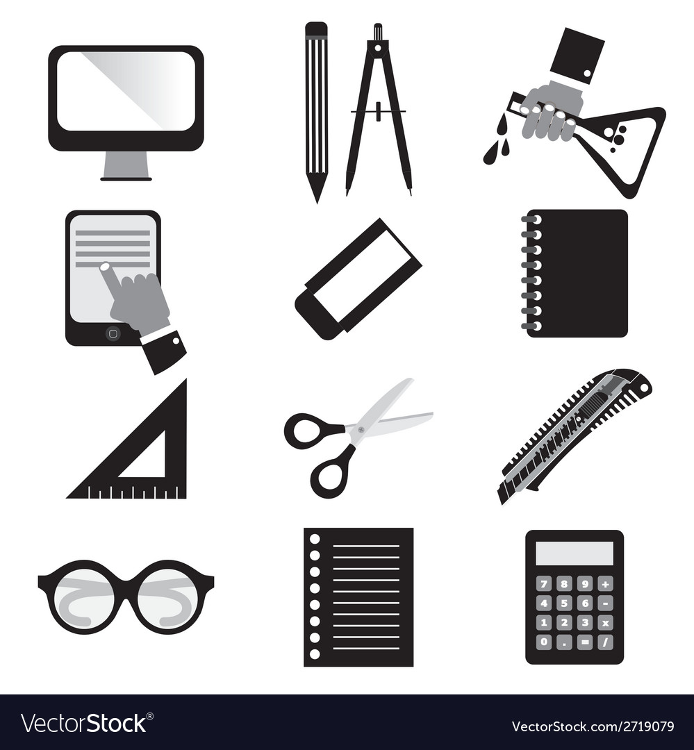 Set of black education icons vector | Price: 1 Credit (USD $1)