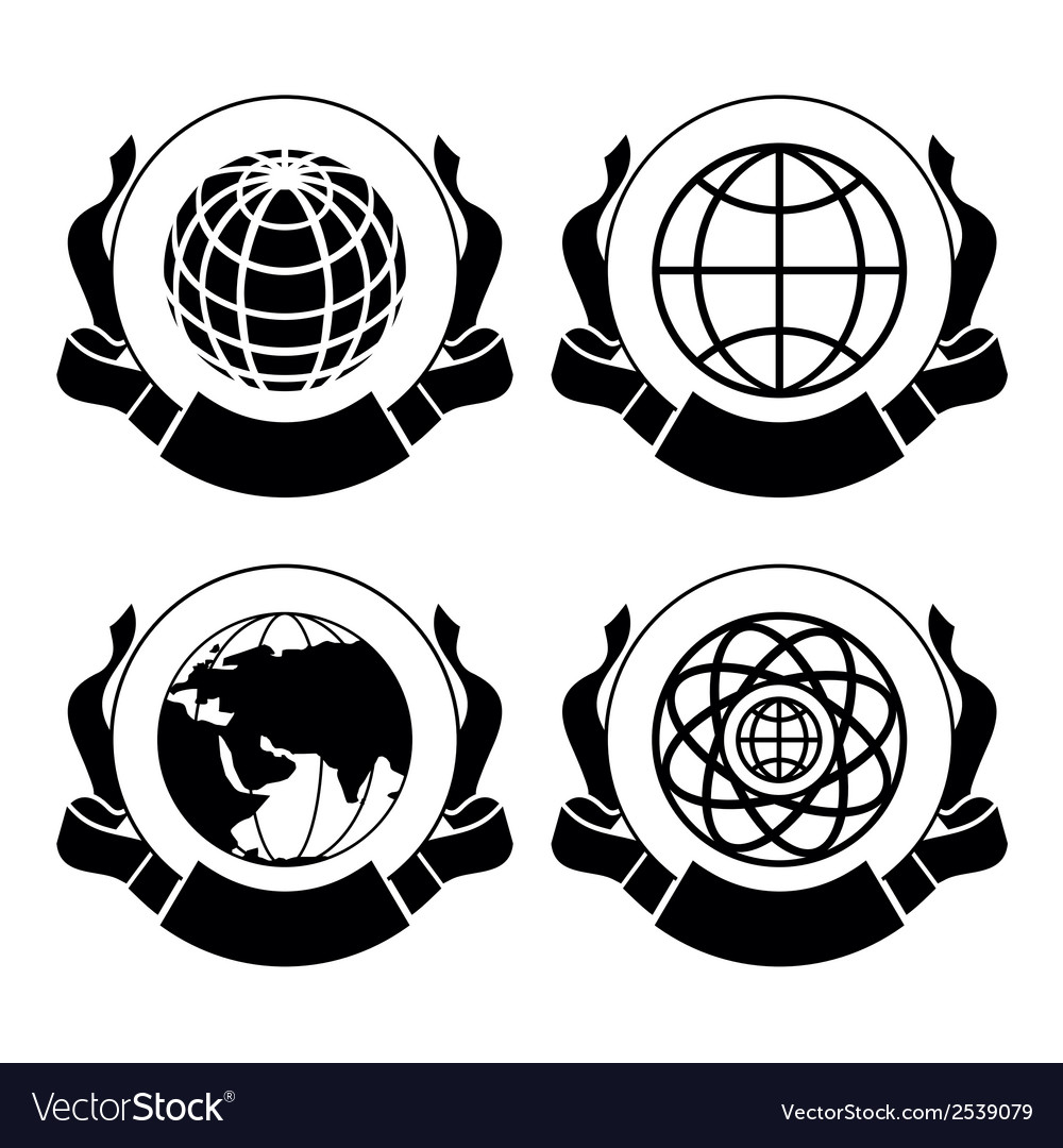 Set of emblems globes vector | Price: 1 Credit (USD $1)