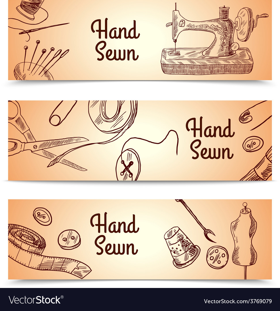 Sewing banners set vector | Price: 1 Credit (USD $1)