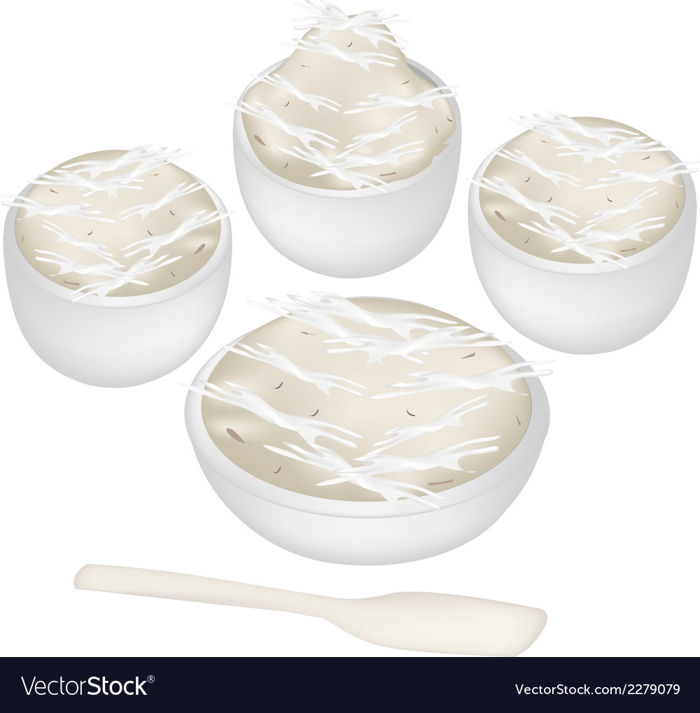 Thai dessert of banana sweetmeat in bowls vector | Price: 1 Credit (USD $1)