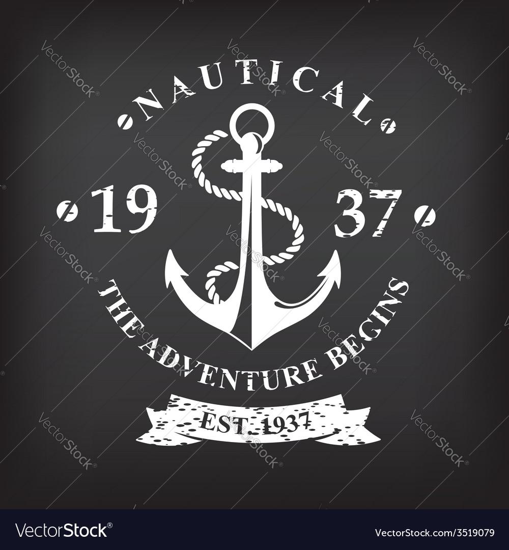 T-shirt print design nautical marine badge design vector | Price: 1 Credit (USD $1)
