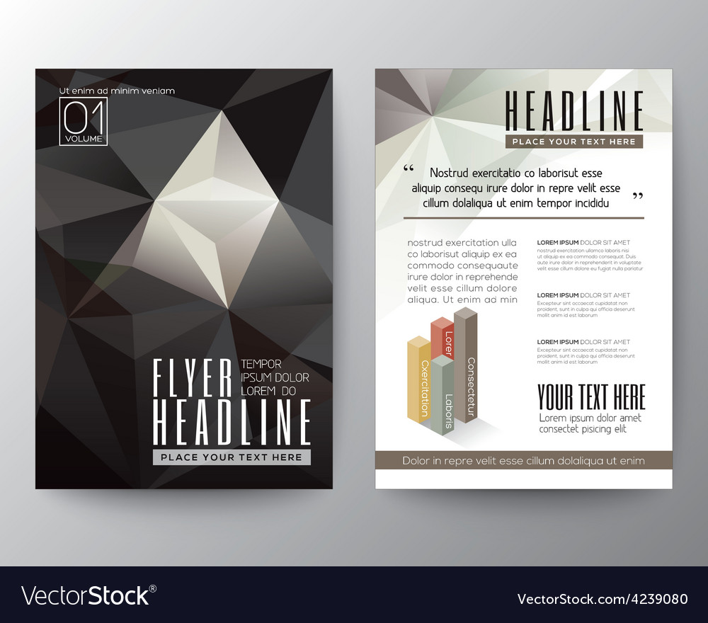 Abstract black triangle geometric brochure flyer vector | Price: 3 Credit (USD $3)