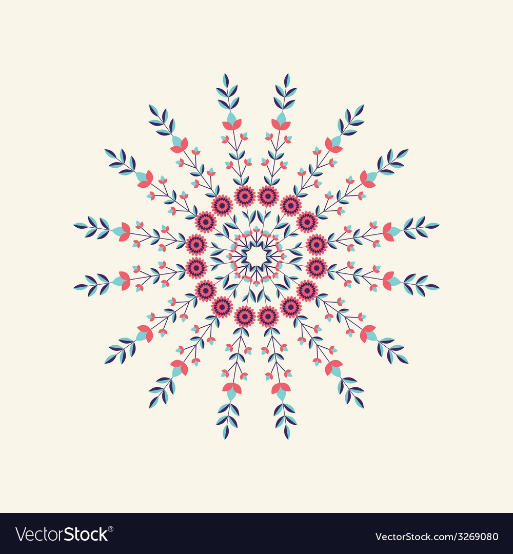 Abstract round floral ornament vector | Price: 1 Credit (USD $1)