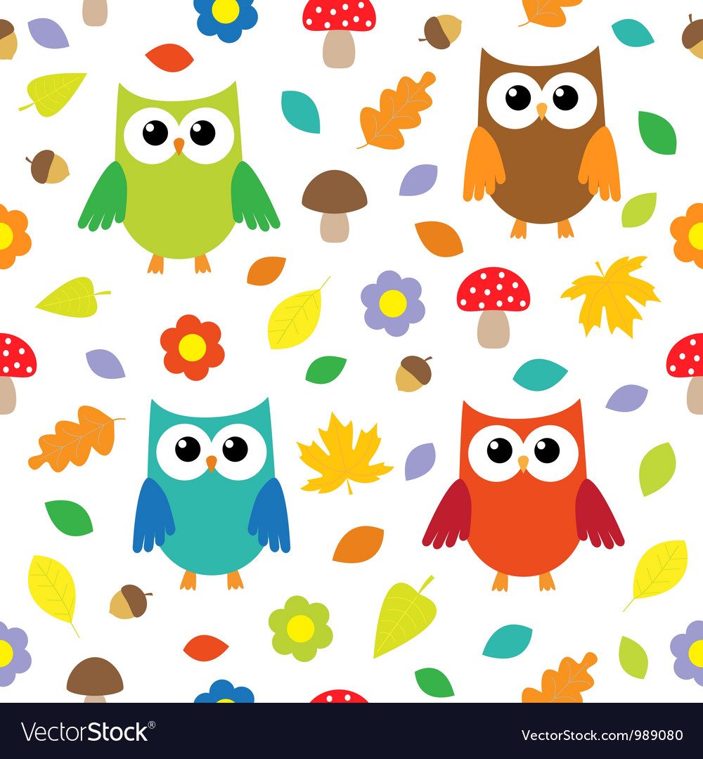 Autumn background with owls vector | Price: 1 Credit (USD $1)