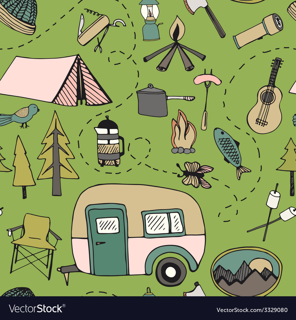 Camping pattern vector | Price: 1 Credit (USD $1)