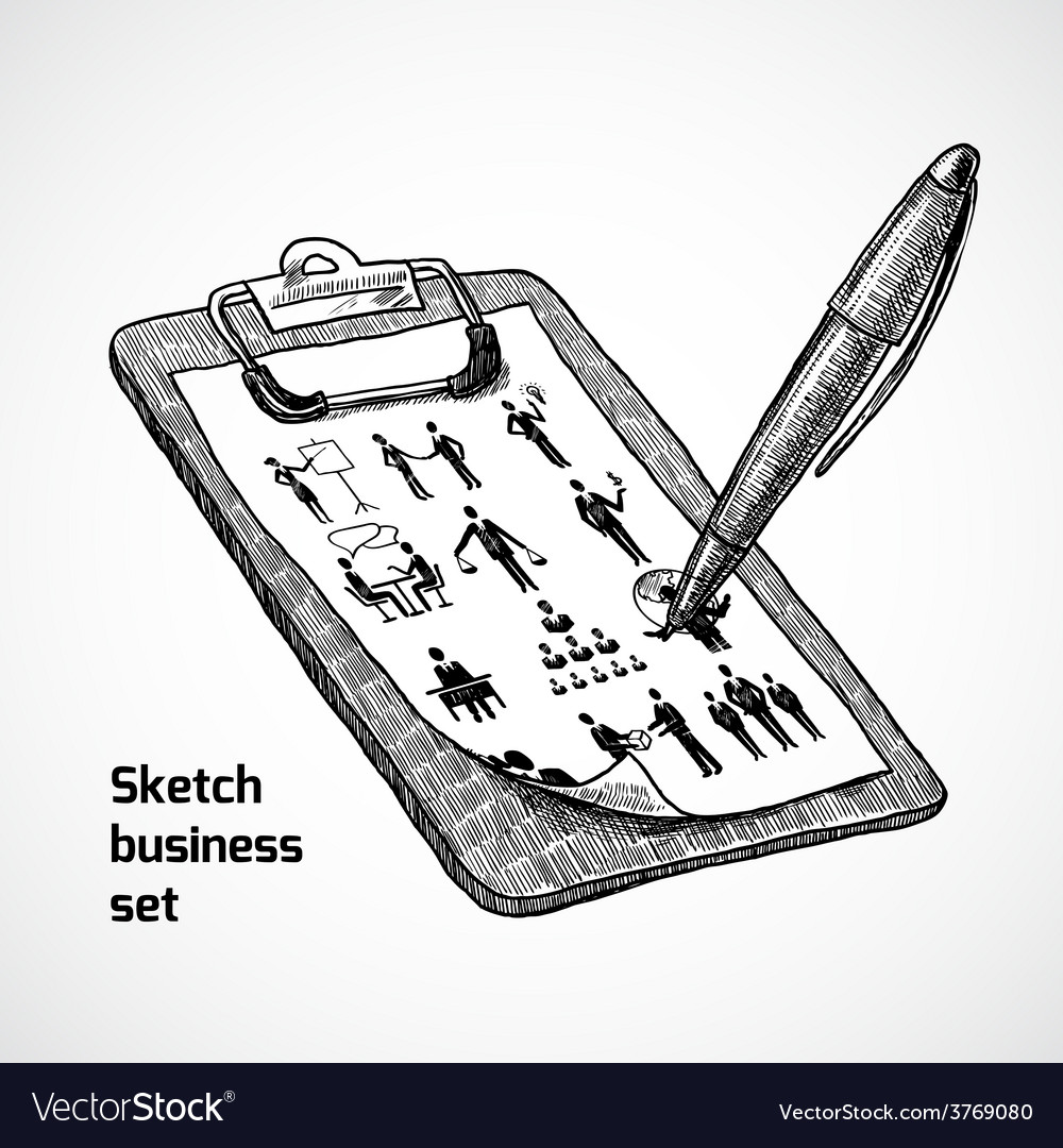 Clipboard with business sketch vector | Price: 1 Credit (USD $1)