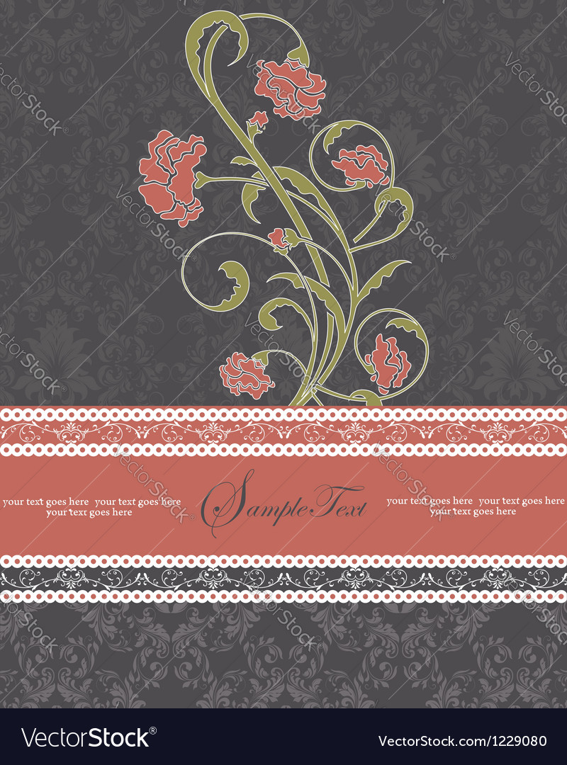 Damask floral card vector | Price: 1 Credit (USD $1)