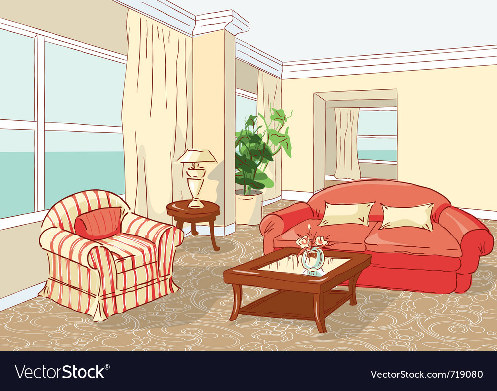 Interior living room vector | Price: 3 Credit (USD $3)