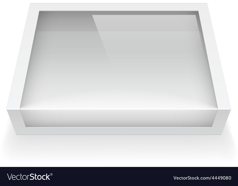 Realistic package cardboard box with window vector | Price: 1 Credit (USD $1)