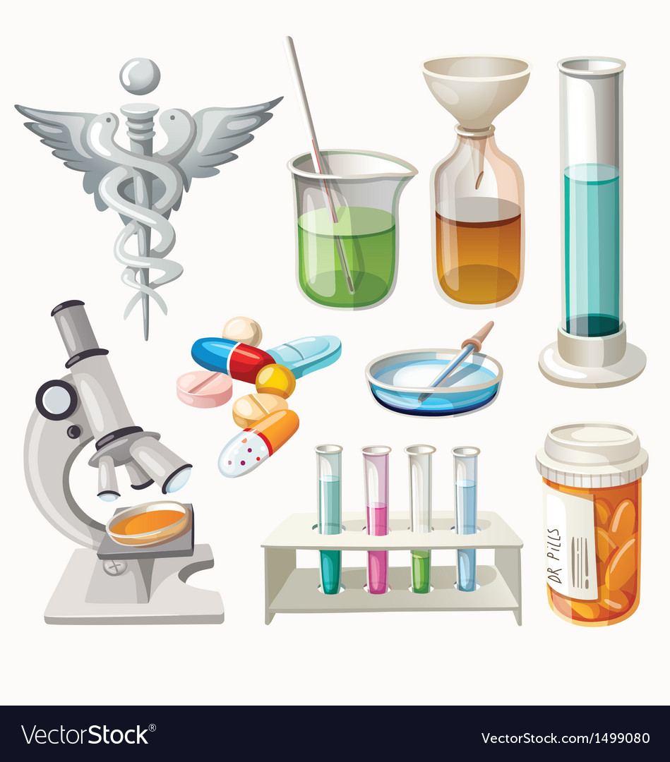Set of supplies used in pharmacology vector | Price: 3 Credit (USD $3)