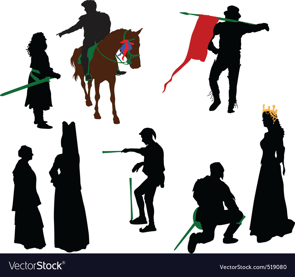 Silhouettes of medieval people vector | Price: 1 Credit (USD $1)