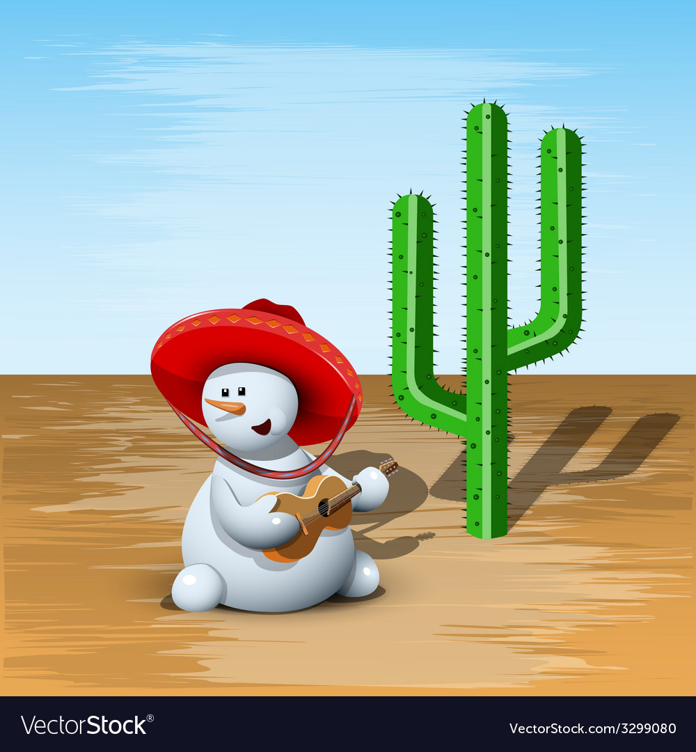Snowman and cactus vector | Price: 3 Credit (USD $3)