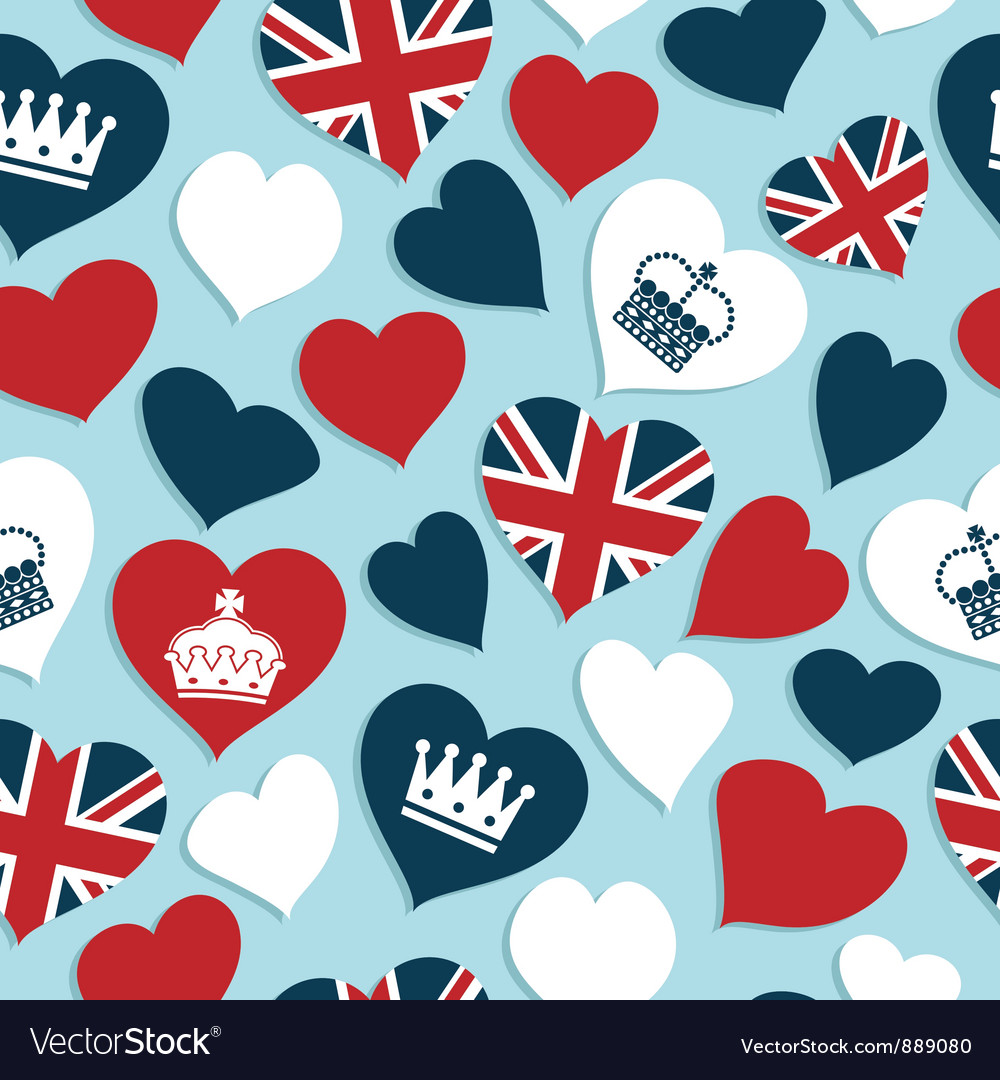 Uk hearts pattern vector | Price: 1 Credit (USD $1)