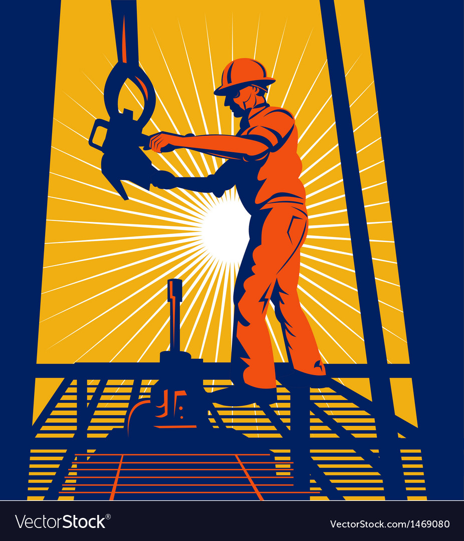 Worker on oil rig sealing well vector | Price: 1 Credit (USD $1)
