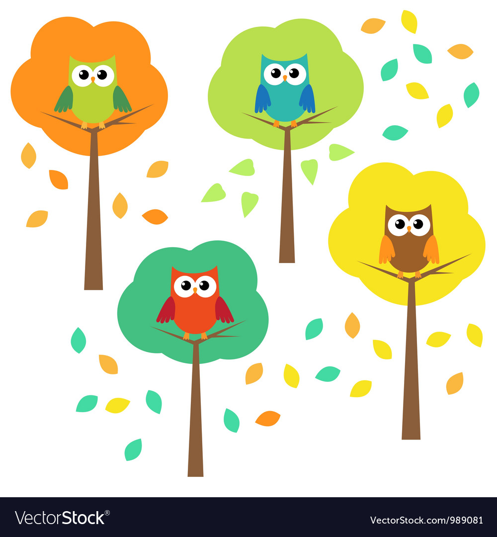 Autumn trees and owls vector | Price: 1 Credit (USD $1)