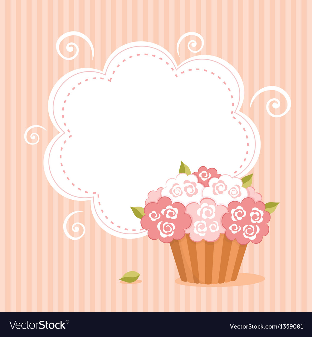 Background with birthday cupcake vector | Price: 1 Credit (USD $1)