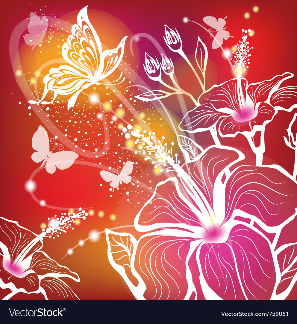 Background with flowers hibiscus and butterfly vector | Price: 1 Credit (USD $1)