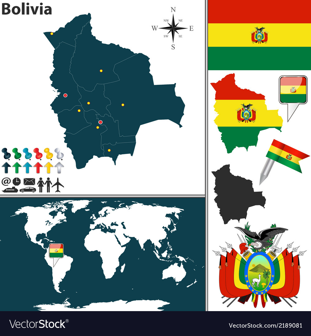 Bolivia map world vector | Price: 1 Credit (USD $1)