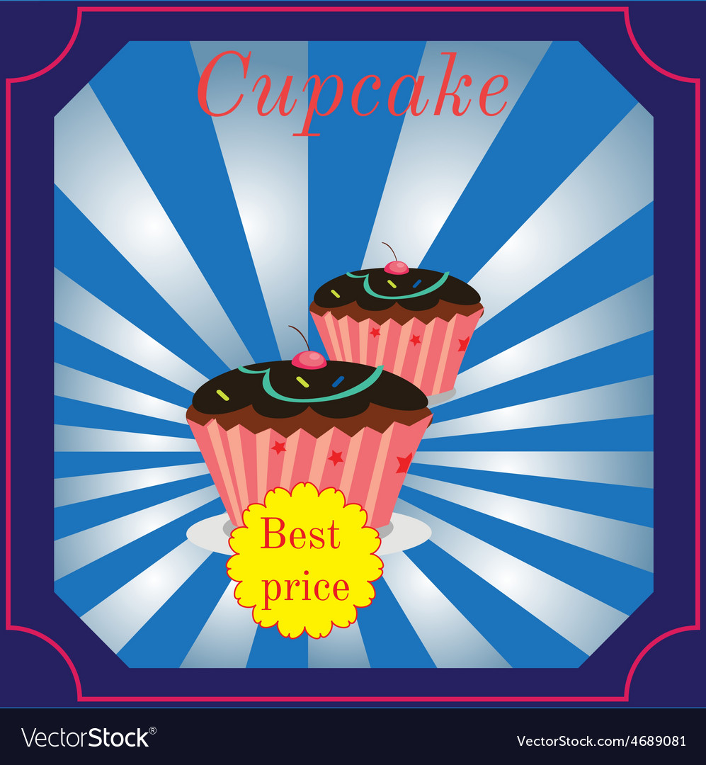Cupcakes poster design vector | Price: 1 Credit (USD $1)