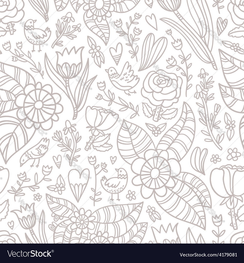 Flowers birds hearts seamless pattern vector