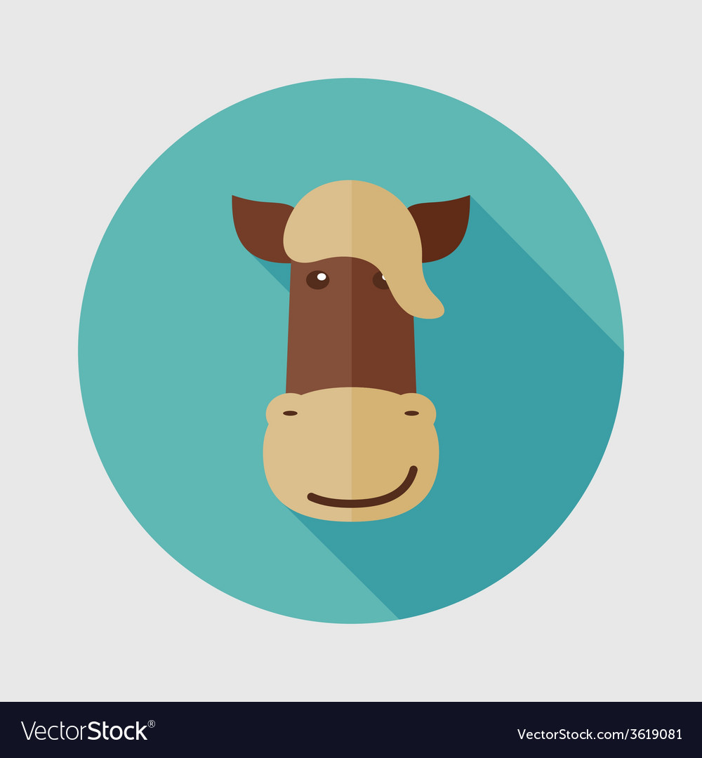 Horse flat icon with long shadow vector | Price: 1 Credit (USD $1)
