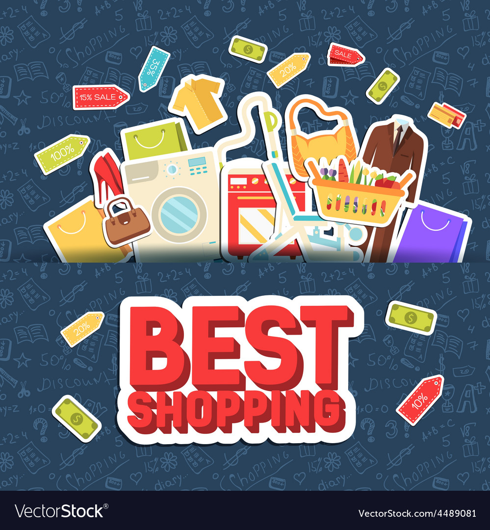 Many object purchased in the shop shopping vector | Price: 1 Credit (USD $1)