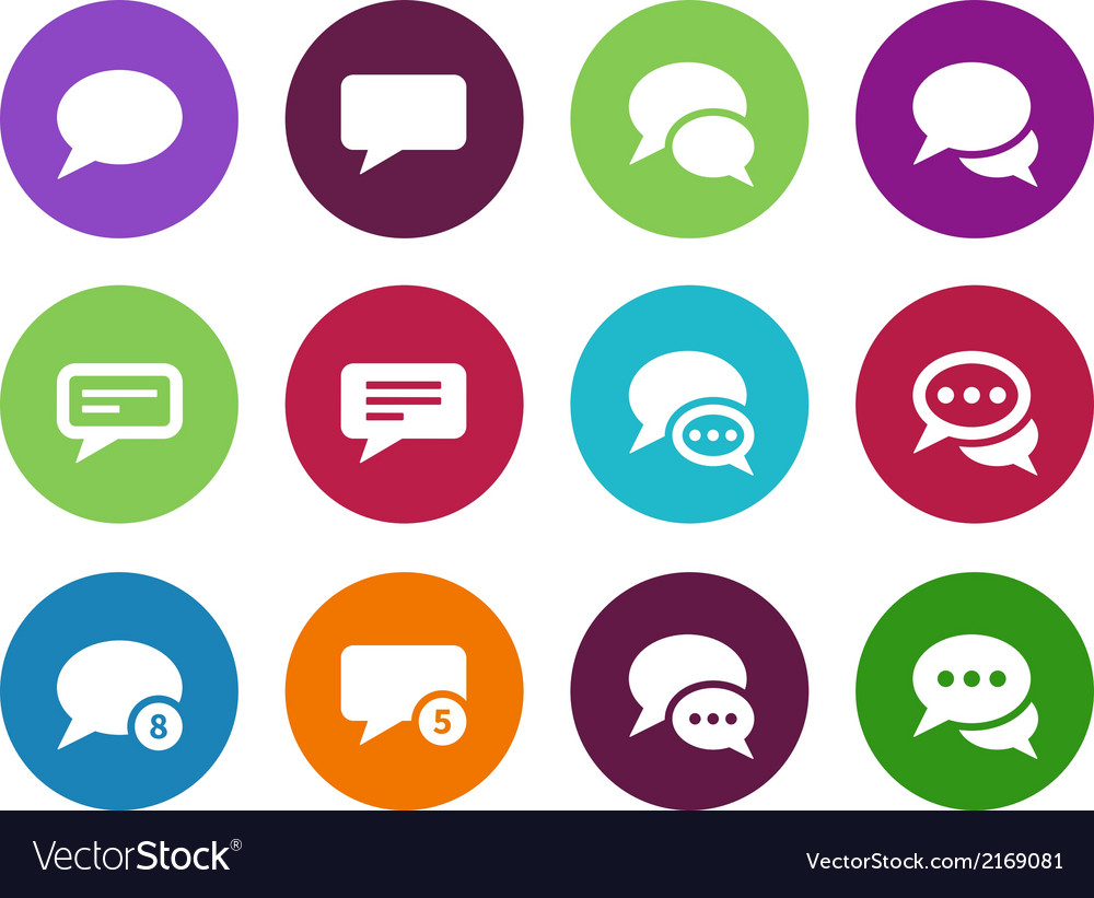 Message bubble circle icons on white background vector | Price: 1 Credit (USD $1)