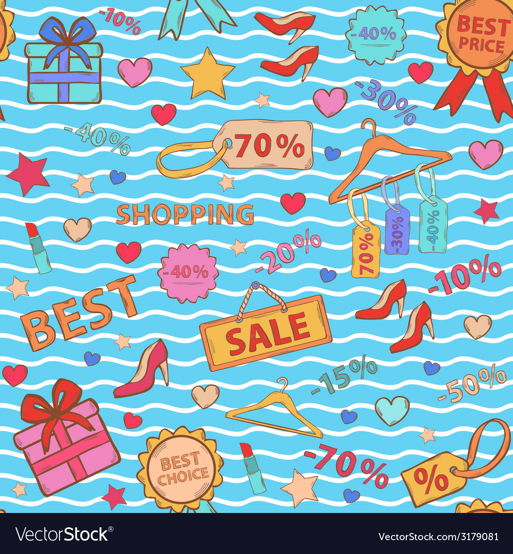 Pattern on shopping themed design with different vector | Price: 1 Credit (USD $1)