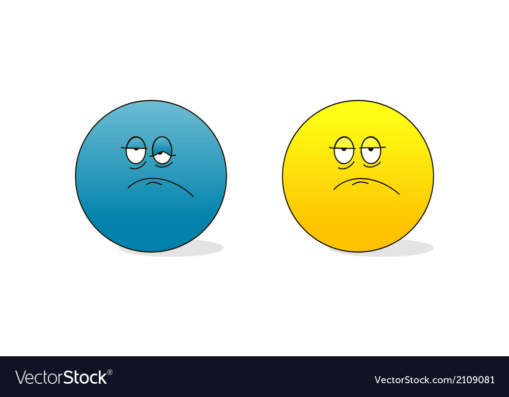 Sad and tired emoticons vector | Price: 1 Credit (USD $1)
