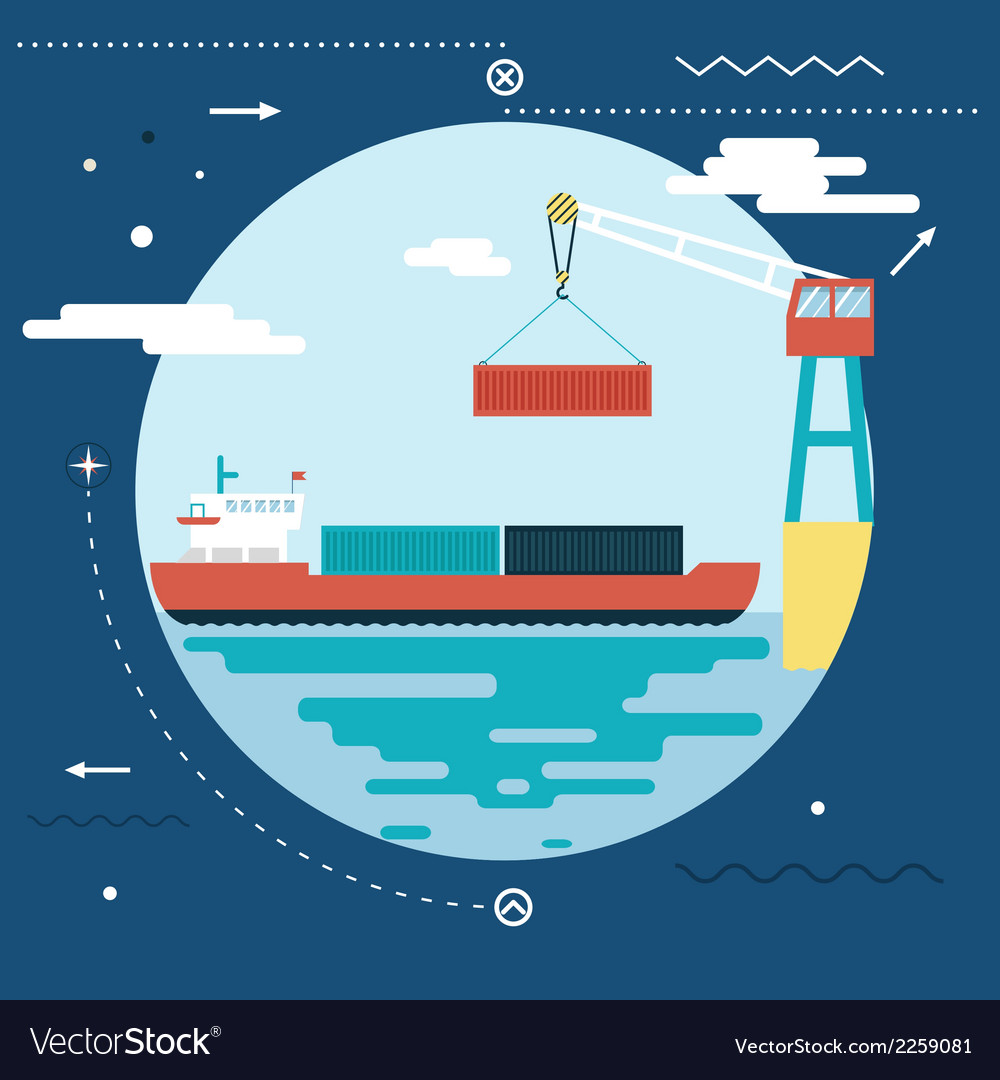 Shipment freight symbol ocean sea river shipping vector | Price: 1 Credit (USD $1)