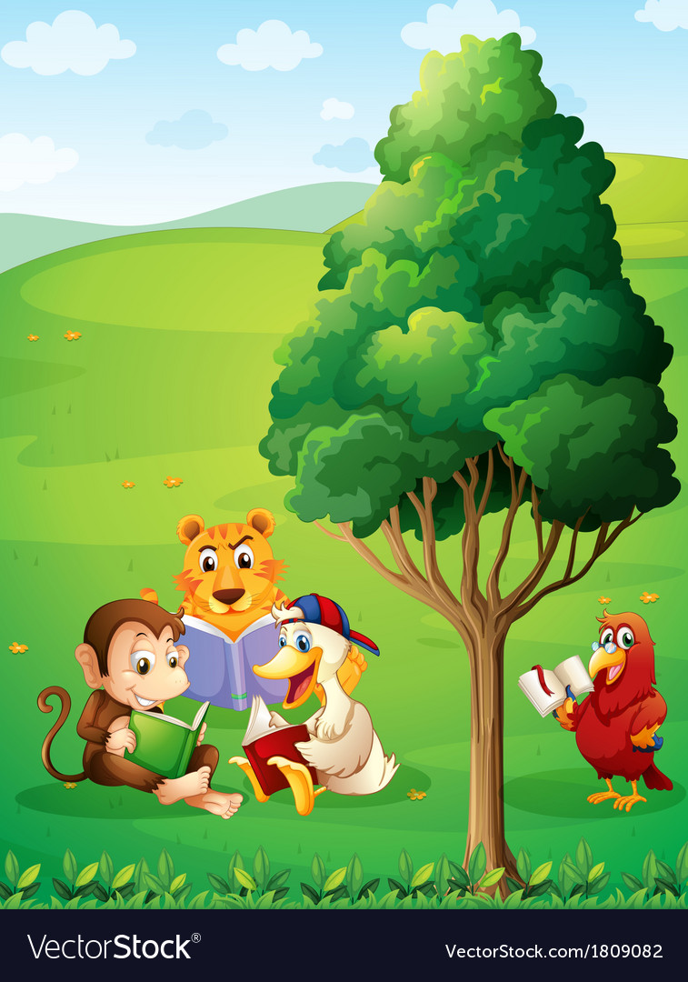 Animals reading under the tree at the hilltop vector | Price: 1 Credit (USD $1)
