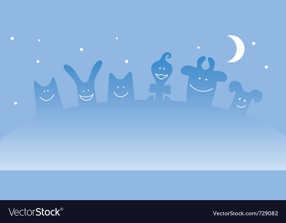 Cartoon farm animals night vector | Price: 1 Credit (USD $1)