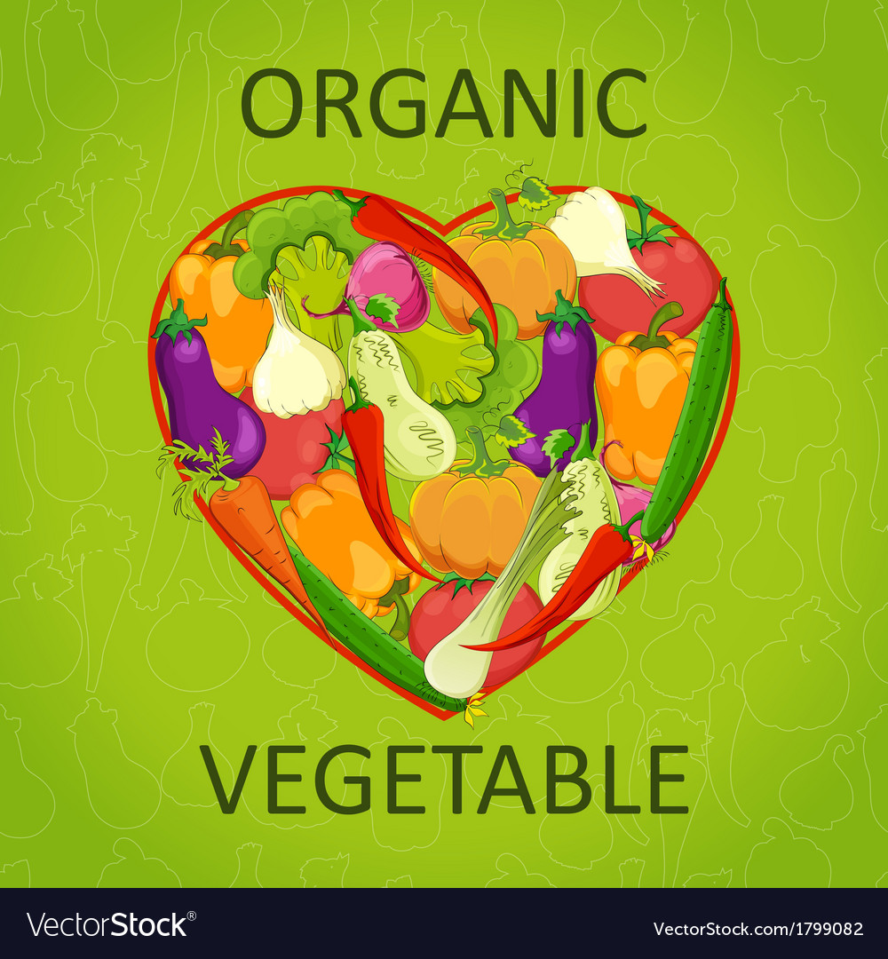 Healthy life - heart shape with vegetables vector | Price: 1 Credit (USD $1)