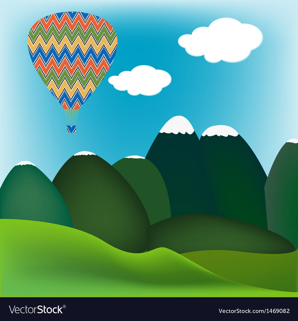 Hot air ballon mountain landscape vector | Price: 1 Credit (USD $1)