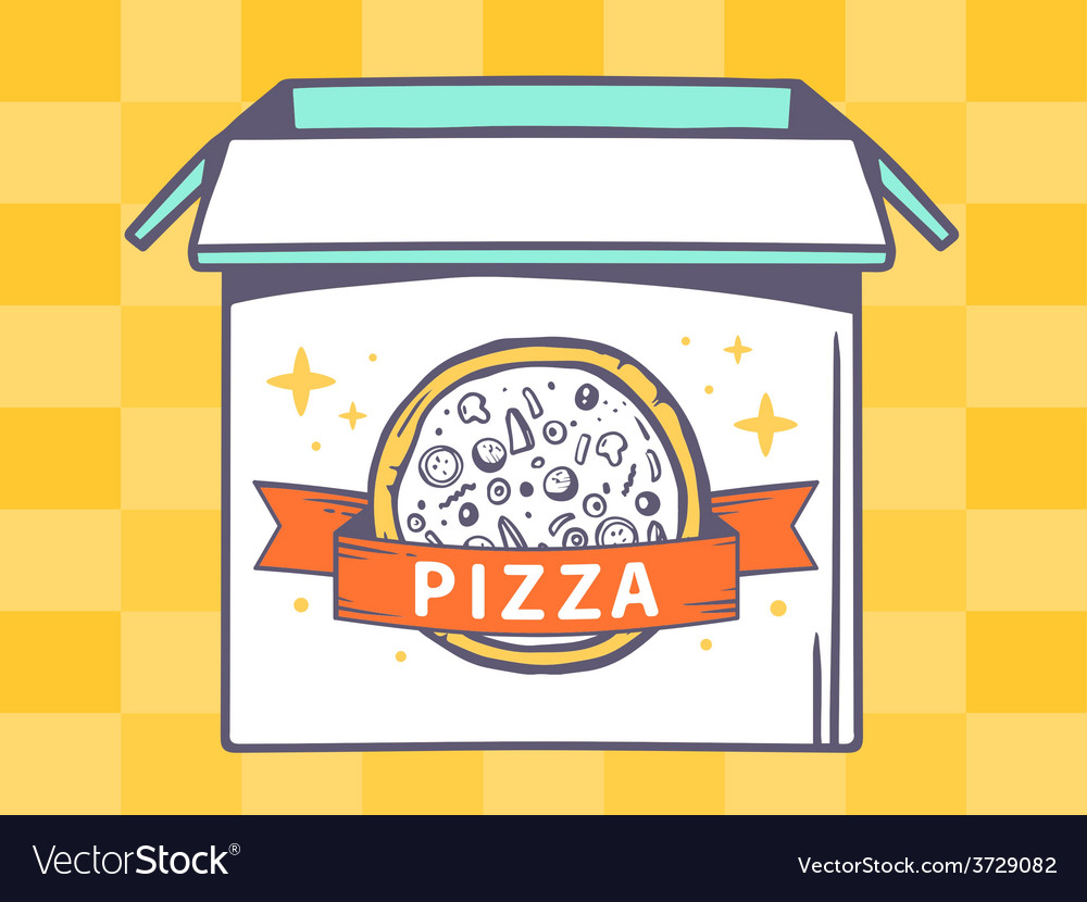 Open box with icon of pizza on yellow pa vector | Price: 1 Credit (USD $1)