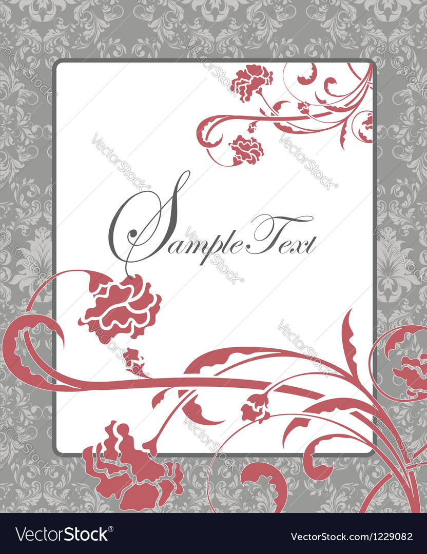 Pink and gray damask card vector | Price: 1 Credit (USD $1)