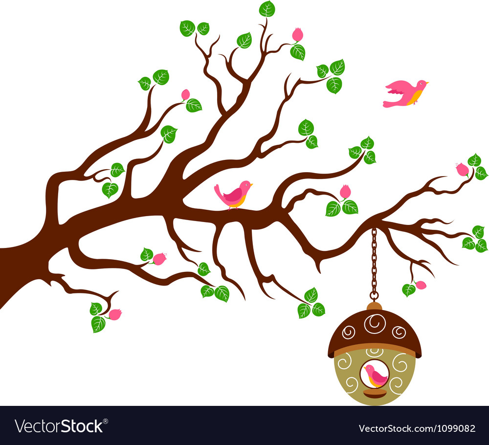 Tree with cute bird house vector | Price: 1 Credit (USD $1)