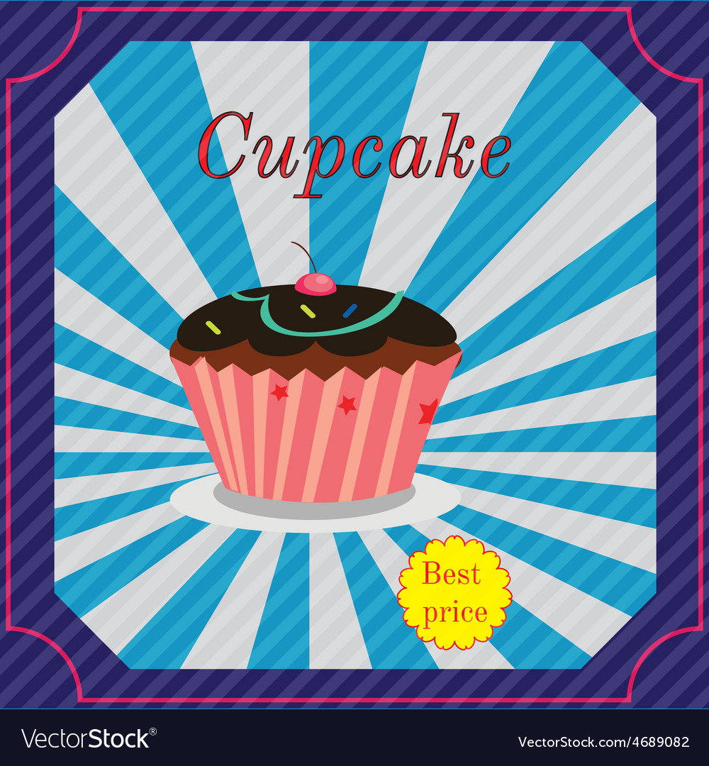 Vintage cupcake poster design vector | Price: 1 Credit (USD $1)